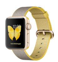 Watch Series 2 38mm Gold with Woven Nylon Yellow/Light Gray MNP32 EU
